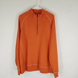 LL Bean mens knit top 3/4 zip orange tradtional
